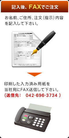 記入後FAXでご注文(お名前、ご住所、注文(指示)内容を記入して下さい。→印刷した入力済み用紙を当社宛にFAX送信して下さい。(送信先:042-696-3734))