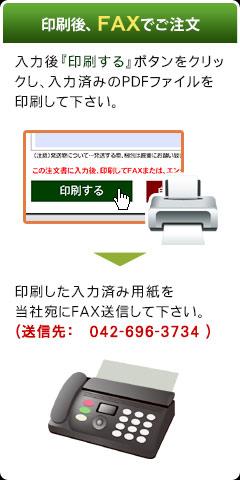 印刷後FAXでご注文(入力後『印刷する』ボタンをクリックし、入力済みのPDFファイルを印刷して下さい。→印刷した入力済み用紙を 当社宛にFAX送信して下さい。(送信先:042-696-3734))